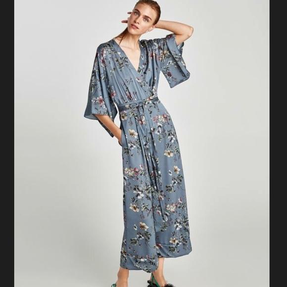 963a60d4b68 Zara Floral Kimono Jumpsuit